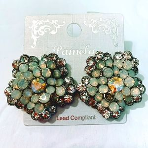 NWT Handmade Faux Gems, Crystal and Metal Earrings